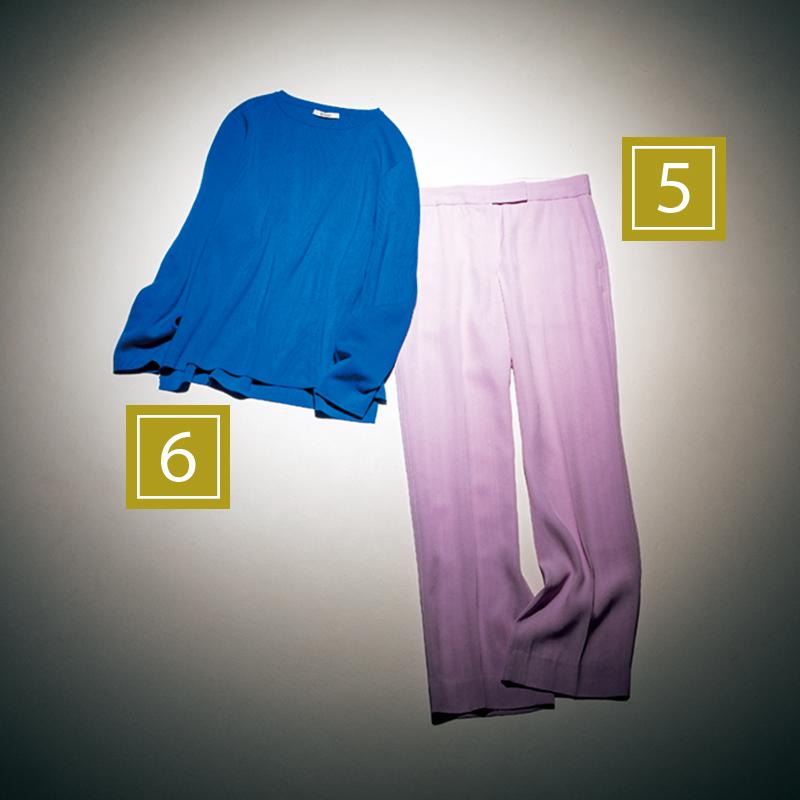 【5】ライラックパンツ シャープなⅠラインを強調するセンタープレスパンツなら、ピンクを大人っぽく取り入れられます。パンツ¥90,000(エストネーション/エストネーション) 【6】ロイヤルブルー ハツラツとした爽やかな印象を与えてくれるロイヤルブルー。着心地のいい柔らかな風合いのニットを厳選して。ニット¥27,000(スローン)