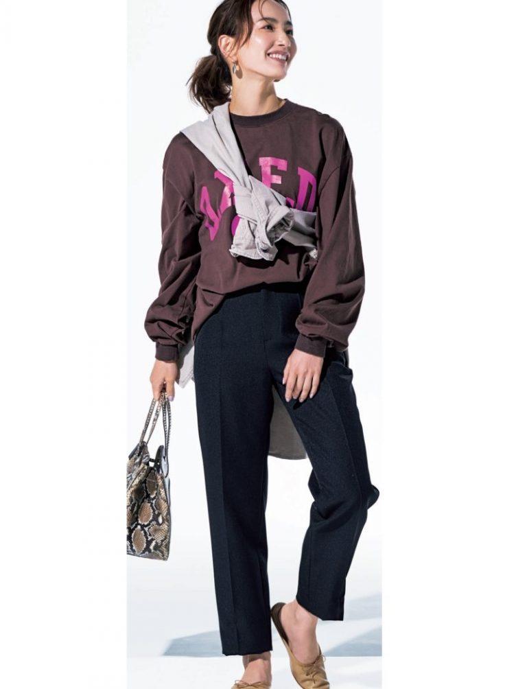 30代ファッションのお手本コーデ。150㎝台でも着られるノークの黒パンツ。モデルは辻元舞さん。