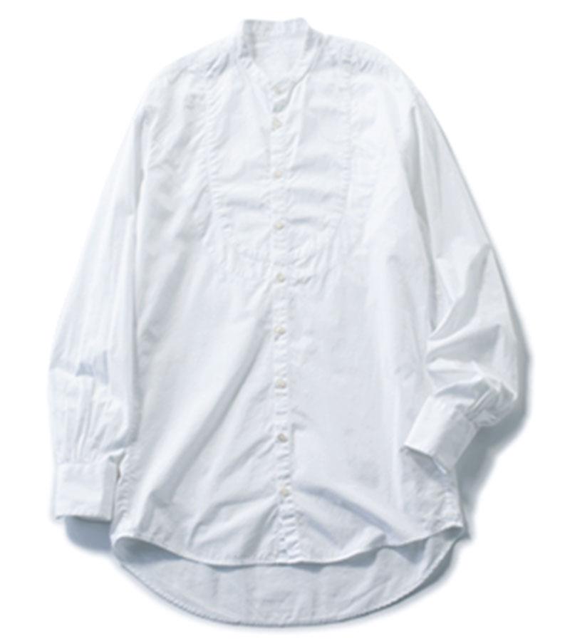 【3】バンドカラーシャツ レイヤードしやすく、汎用性ばつぐん。¥41,800(BOURRIENNE/エスケーパーズオンライン)