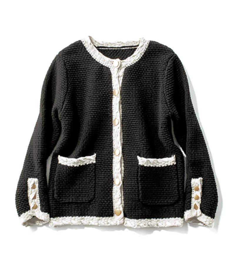 【9】ツイード風カーディガン 今季トレンドのツイード風ジャケットは、Sサイズらしい可愛らしさが。¥20,900(カデュネ)