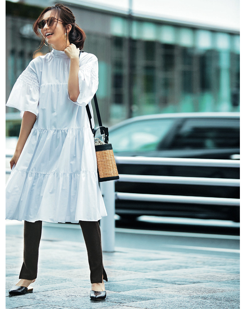 30代ファッション。Merlette(マーレット)のワンピコーデ。モデル優木まおみ。