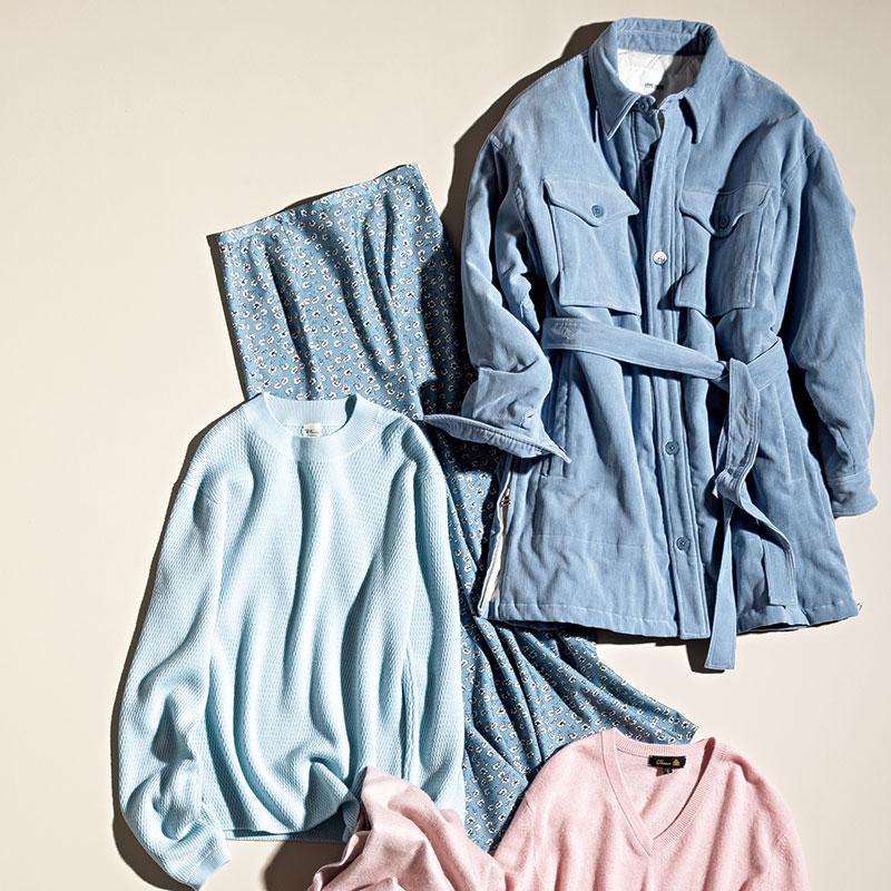 [上から]デニムと合わせてワントーンで着るのも素敵。ジャケット¥58,000(ジェーンスミス/UTS PR)ノスタルジックな淡いブルーの小花柄。スカート¥21,000(RHC/RHCロンハーマン)晴れた空のような澄んだブルーが特徴。プルオーバー¥29,000(ロンハーマン)