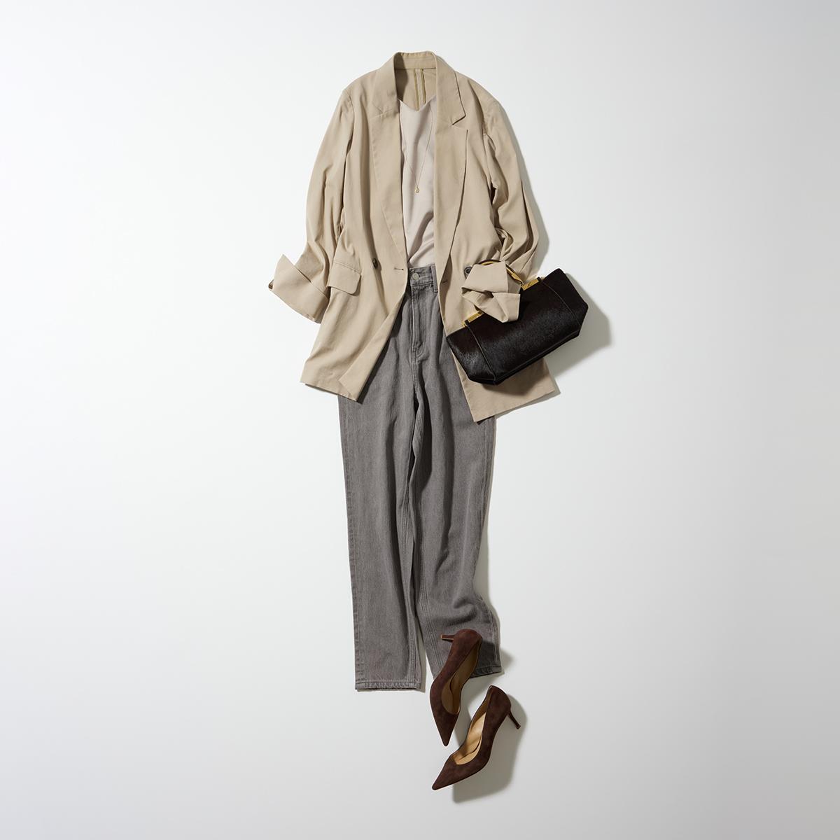 GU(ジーユー)でおすすめのグレーデニム×ジャケットのきれいめカジュアルコーデ。