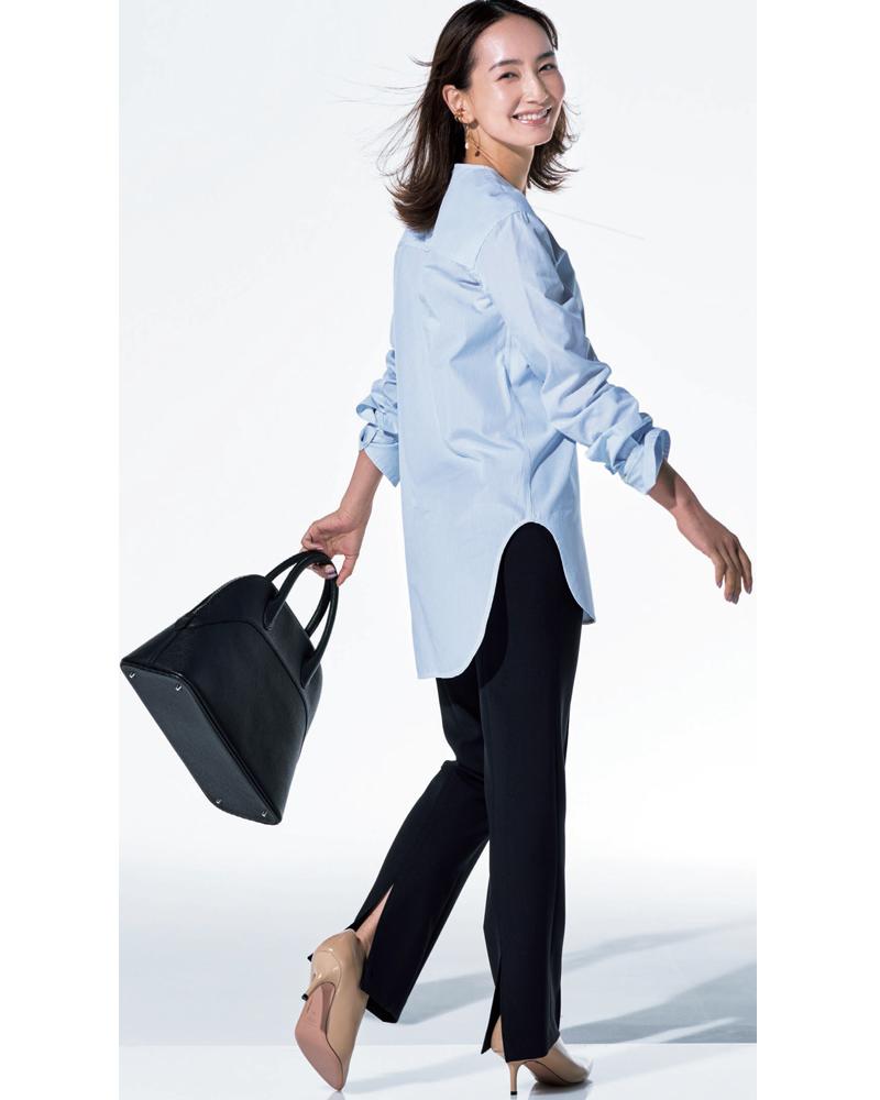 30代ファッション。モデル辻元舞さん。トゥモローランドのパンツを穿いて。30代のきれいめコーディネート。
